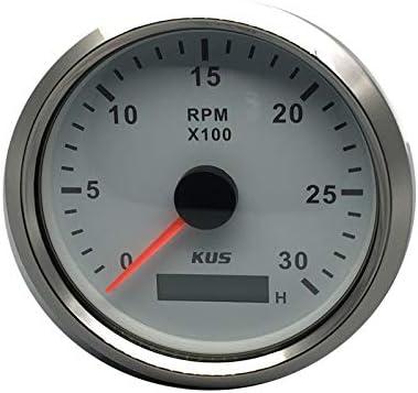 Kus Wasserdichte Drehzahlmesser Drehzahlmesser Mit Betriebsstundenzähler 3000 Rpm 85mm 12 V 24 V Mit Hintergrundbeleuchtung Schwarz Auto