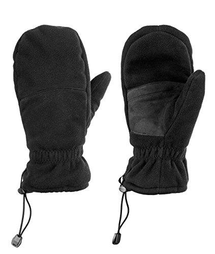 Fünf Finger Fäustling: Hybrid Winterhandschuh - Unisex - ideal für Freizeit & Sport - wärmste atmungsaktive Handschuhe , Schwarz, L