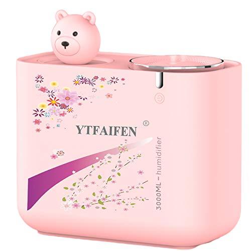 YTFAIFEN Sakura - Humidificador de aire portátil silencioso para niños, dormitorio de bebé, hogar, humidificadores ultrasónicos, USB, para escritorio, 3 L, pequeño difusor para casa de coche