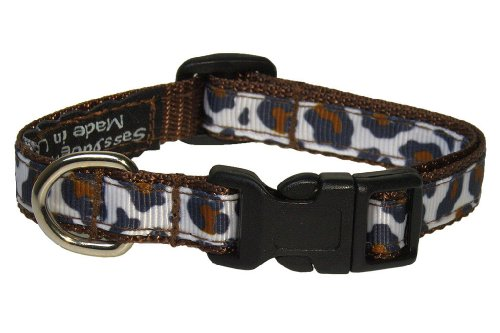 "XSmall White/Brown Leopard Dog Collar: 1/2"" Wide, Adjusts 6-12"" - Made in USA. -  Sassy Dog Wear, L004-CXS"