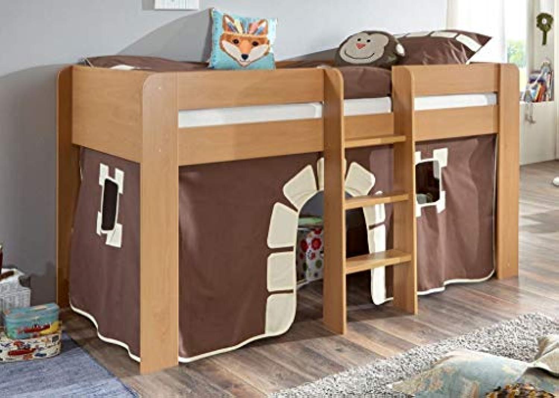 Froschknig24 Hochbett ANDI 1 Kinderbett Spielbett halbhohes Bett Buche Stoffset Burg