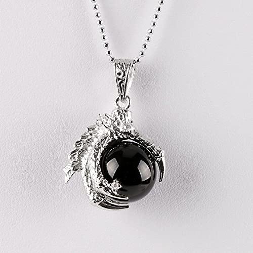 YQMR Collares con Colgantes De Piedra para Mujer,7 Chakra Señoras Cadena De Clavícula De Plata De Cristal Semiprecioso Natural Collar De Garra De Dragón De Ágata Negra Regalo para El Día De Cumplea