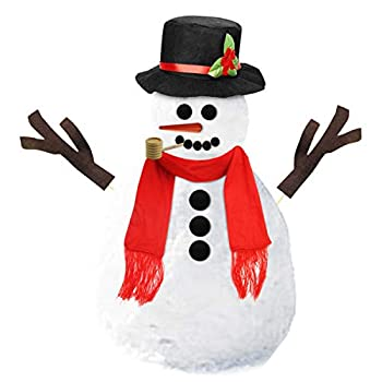Leadrise 16Pcs Snowman Kit Winter Outdoor Fun Toys for Kids Snowman Decorating Kit Includes Hat Scarf Nose Pipe Eyes Mouth and Buttons Christmas Holiday Decoration Gift