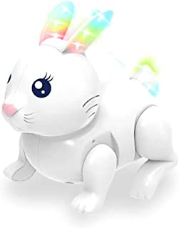 Qbic Cute Easter Bunny Jumping Hopping Rabbit Pet Electronic Walking Toy for Kids(Assorted Colours)