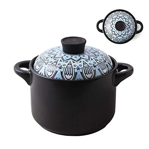 Soup pot Household Cookware Ceramic Soup Pot Casserole High Temperature Ceramic with Blue Pattern Cover  Suitable for Ovens and Microwaves soup pot quart (Color : A, Size : 3.5L(2815cm))