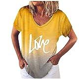 T-Shirt Top Stampa Casual con Scollo a V a Maniche Corte con Posizionamento Gradiente (XL,2Giallo)