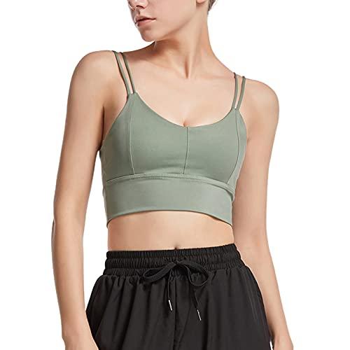 DELIMALI Sujetador deportivo para mujer, sujetador sexy con cuello en V, color sólido, con correas de hombro dobles
