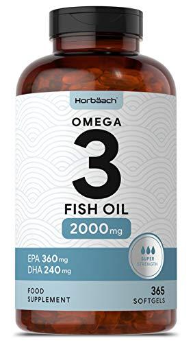 Omega 3 Fish Oil 2000mg | 365 Softgel Capsules | Premium Fatty Acids EPA & DHA | Supports Heart, Brain & Eye Health | Non-GMO, Gluten Free Supplement | 1000mg per Tablet
