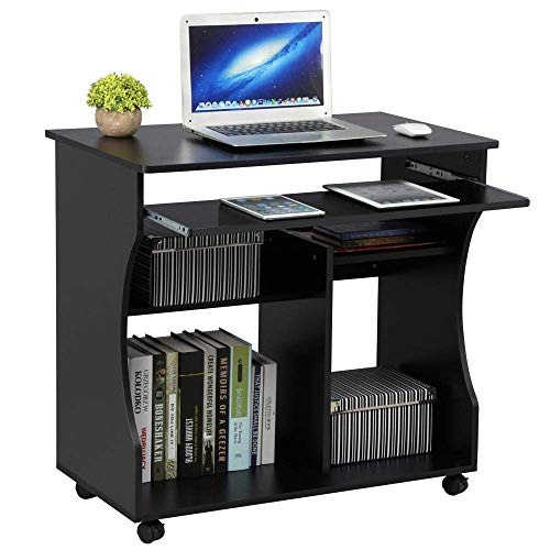 YANGSANJIN Computer Desk,Black Movable Computer Writing Desk with Sliding Keyboard, Storage Shelves,Wheels for Small Spaces