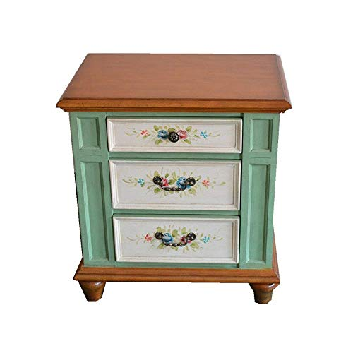 Flower Stand Nightstand Antique Bedside Table Sofa Side Three Drawers Country Furniture Painted Drawers Bedside Tables (Color : Green, Size : 59x40x68cm)