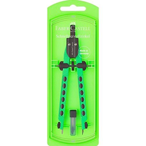 Faber-Castell 174335 - Schnellverstellzirkel, Factory Neon (Grün)