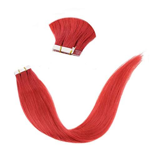 "LaaVoo 20"" Adhesive Tape Extensiones Pelo Rojo Deep Red Wine Naturales de Tape in Skin Weft Individual 10pcs Total 25 Gramos"