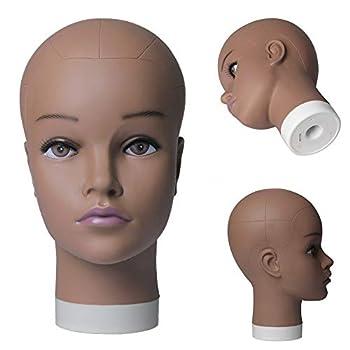 Jiayi 20 inch Bald Female Mannequin Head Professional Cosmetology Afro Wig Doll Head Chocolate Manikin Model Doll Head for Wig Making,Display Wigs,eyeglasses