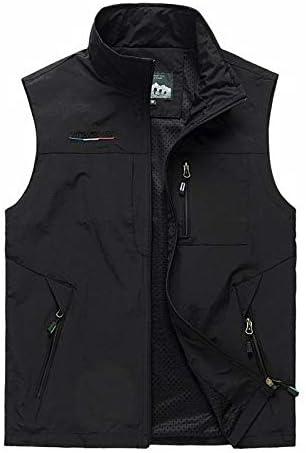 LYLY Vest Women Summer Autumn Vest Many Pockets Men Outdoors Thin Multi Pocket Classic Waistcoat Sleeveless Jacket 6XL Vest Warm (Color : Black, Size : 6XL)