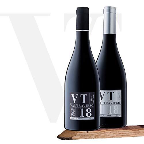 Valtravieso | Vendimia Seleccionda Tinto Fino (75%), Cabernet Sauvignon (15%) y Merlot (10%) + Tinta Fina Vino Tinto DO Ribera del Duero Tinto Fino (100%) | Lote de 2 Botellas 750 ml, Total 1500 ml