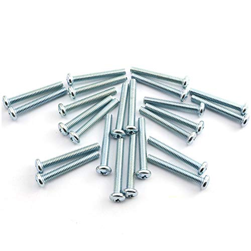 24pcs 8-32 x 1-1/4 Machine Screws Metal Mounting Hardware Fitting Fastening Accessories Cross Slotted Round Phillips Head Screw Bolt