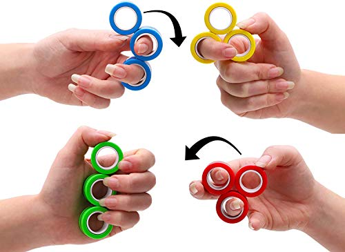 Toyland Pack of 3 Professional Magnetic Spinning Ring Toys - Novelty Toys - Fidget Toys - Finger Toys - Anxiety/Stress Relief (Random)