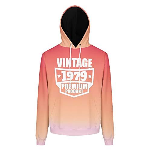 Toomjie Vintage 1979 Premium Product Druck Herren Damen Kapuzenpullover Casual Komfortabel Pulli Top mit Kaputzen