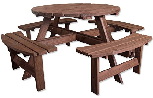 Woodside 8 Seater Round Outdoor Pressure Treated Wooden Pub Bench/Garden Picnic Table