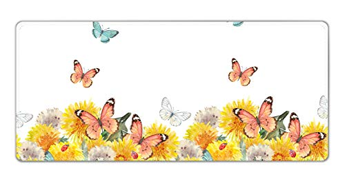Extended Gaming Mouse Pad Mat with Stitched Edge- Large Desk Mat Non-Slip Water-Resistant Rubber Base Computer Keyboard Mouse Mat, 35.4 x 15.75 Inch XXL, Ideal for Work & Game (Nice Butterflies)