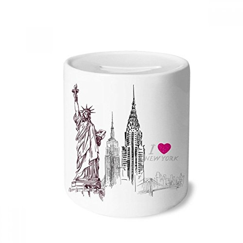 DIYthinker Ich Liebe New York Amerika Land Stadt-Geld-Kasten Sparkassen Keramik Münzfach Kinder Erwachsene 3.5 Zoll in Height, 3.1 Zoll in Duruchmesser Mehrfarbig