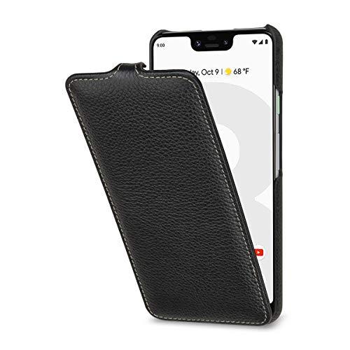 StilGut Lederhülle für Google Pixel 3 XL vertikales Flip-Hülle, schwarz