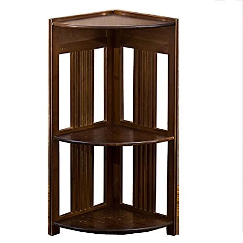 MxZas Corner Ladder Shelf Solid Wood Corner Cabinet Triangle Corner Cabinet Shelf Small Bookshelf (Color : Brown, Size : 28X70cm)