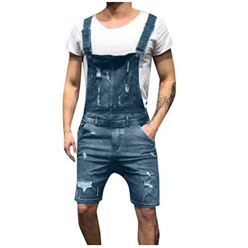 GreatestPAK Herren Kurze Jeans Jumpsuit Hosenträgerhose Taschen Knöpfe Gewaschen Jeansstoff Neckholder Overall,Blau,EU:XL(Tag:3XL)