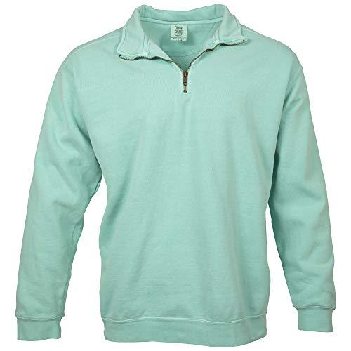 Comfort Colors Men's Adult 1/4 Zip Sweatshirt, Style 1580, Chalky Mint, Large