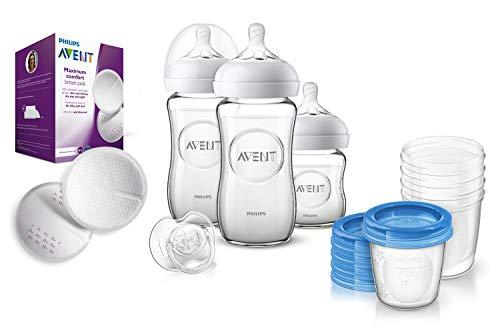 Philips Avent Natural Flaschenset SCD303/01 für Neugeborene aus Glas, 5x Becher für Muttermilch & 100er Pack Stilleinlagen
