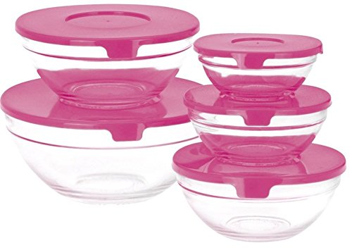 Ensemble de 5 saladiers en verre avec couvercles rouges, bleus, roses ou verts rose