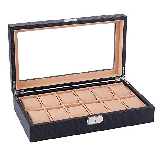 Goodvk Uhr-Anzeigen-Box Fiber De Carbone Uhrenbox Case 12 Display Aufbewahrungsbox Schwarz Armband Fach Kunstleder abschließbar (Farbe : Braun)