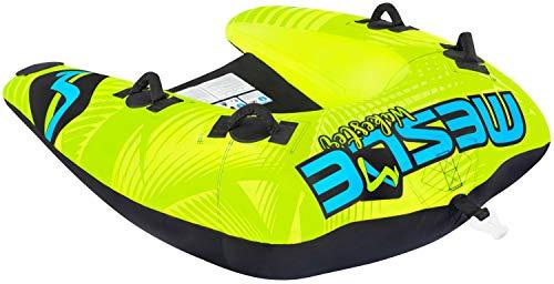 MESLE Tube Wakester 2, Chariot-Towable für 1 bis 2-Personen, Inflatable Fun-Tube, grün-blau-schwarz, 170 x 145 cm, Multi-Rider Hufeisen, Kinder Erwachsene, aufblasbar ziehbar, Boot Jet-Ski Yacht