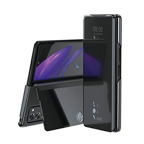 TingYR Hülle für Samsung Galaxy Z Fold 2 5G Schutzhülle, Plating Spiegel Tasche Cover Smart Handyhülle Schutzhülle Flip Lederhülle Etui, Handyhülle Hülle für Samsung Galaxy Z Fold 2 5G.(Schwarz)