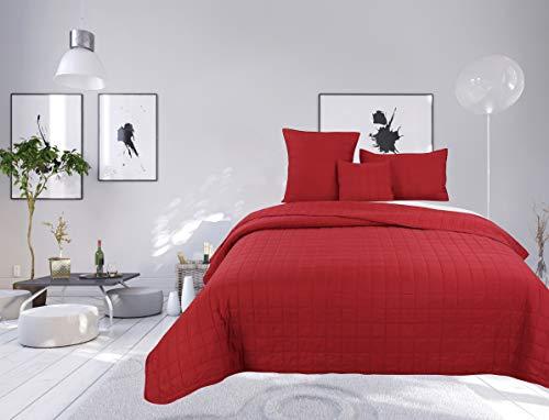 Colcha bouti de 4 piezas de color liso con diseño de cuadros para cama de 1 plaza (rojo, cubre cama bouti 4 piezas liso)