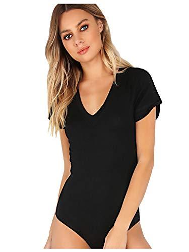 MakeMeChic Women's Short Sleeve Tops Basic V-Neck Leotard Bodysuit Lingerie Black M