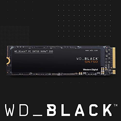 Western Digital WD Black SN750 NVMe SSD interne Festplatte 500 GB (Gaming SSD, 3430 MB/s Lesegeschwindigkeit, schlankes Design, NVMe SSD-Performance, WD Black SSD Dashboard) schwarz
