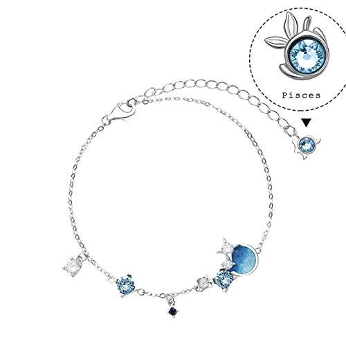 shangwang Pulsera de Nebulosa de Plata 925 Mujer, Doce Constelaciones, Pulsera de eslabones Femeninos a la Moda con Goteo de Aceite, Piscis
