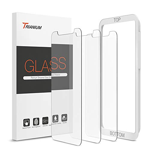 "Trianium (3 Packs) Screen Protector Designed for Apple iPhone 11 Pro Max, iPhone XS Max (6.5"" 2018) Premium HD Clarity 0.25mm Tempered Glass Screen Protector Easy Installation Alignment Case (3-Pack)"