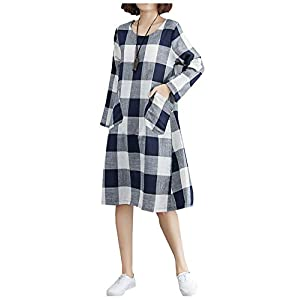 Women's Cotton Linen Checked Dress Plaid Shirt Dress with Large Pockets