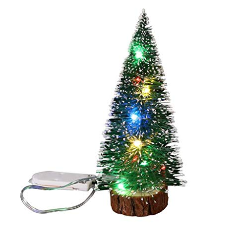 Iusun Tabletop Mini Christmas Tree LED Lights Decoration Bedroom Desk Ornament Bonsai for Home Office Supplies Gift (Green, M)