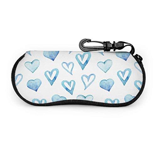 Estuche para gafas Gafas Carcasas Corazón Azul Elegante Romántico Moderno Gafas Caso Suave Con Cremallera Neopreno Gafas De Sol Funda Protectora Bolsa
