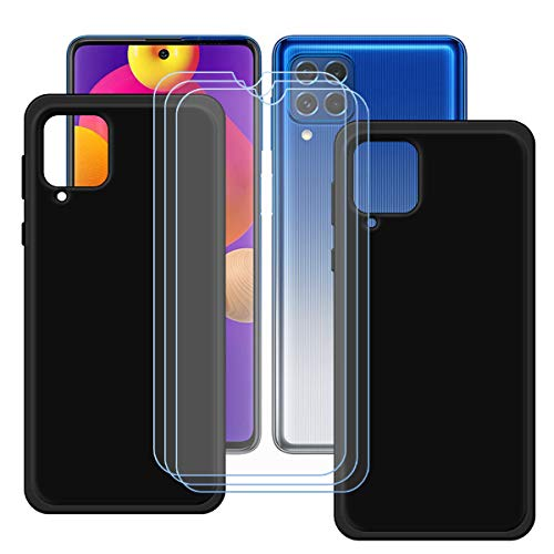 YZKJSZ Funda para Samsung Galaxy M62 + 3 Piezas Protector de Pantalla Cristal Templado Film Película,2 x Silicona Negro Carcasa TPU Suave Caso Case para Samsung Galaxy M62 (6.7')