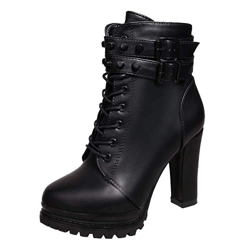 XHLEMON Fashion High Heels Boot for Women Chunky Heel Ankle Tying Shoelaces Rivet Waterproof Thick Bottom Booties