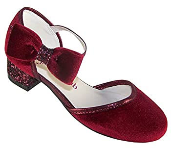Girls  Kids Dark Red Velvet Sparkly Low Heeled Party Shoes Size 1