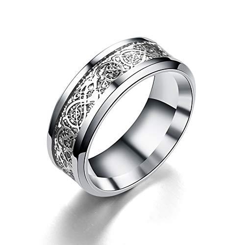 Trifycore anillo de acero inoxidable anillo de dragón Dragón con figuras de dragón joyería del anillo del dragón para los hombres y mujeres de 8 mm (plata)
