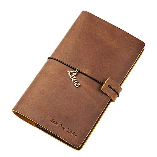 Genuine Leather Refillable Writing Journal Notebook for Men Women Fathers Mothers Day Gifts, 6.93' x...