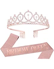 tao pipe Corona Cumpleaños Cinturón de Cumpleaños Tiaras de Niña Accesorios de Cumpleaños con Purpurina Dorada Rosa para Mujeres Niñas 16, 18, 21, 30, 40, 50, 60 Cumpleaños(Birthday Queen)