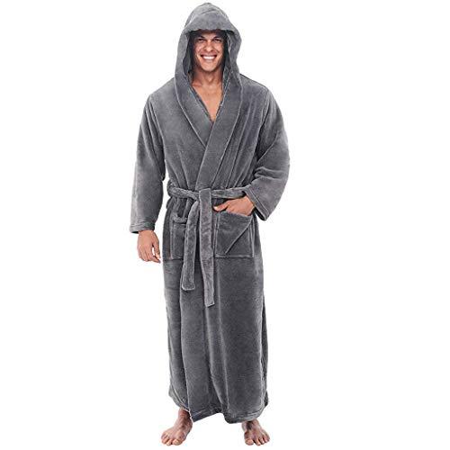 Aoogo Herren Winter Plüsch verlängert Schal Bademantel Startseite Kleidung Langärm Fleece Robe Mantel Saunamantel