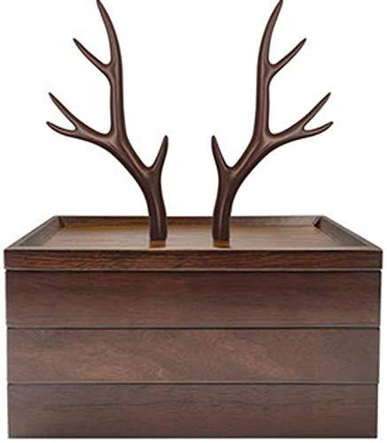 HAOSHUAI Schmuckhülle Holz Schmuck Organizer 3 Tier Schmuck Baumständer, Harz Holz Schmuck Aufbewahrungsbox Display für Halsketten Armbänder Ohrringe und Ring
